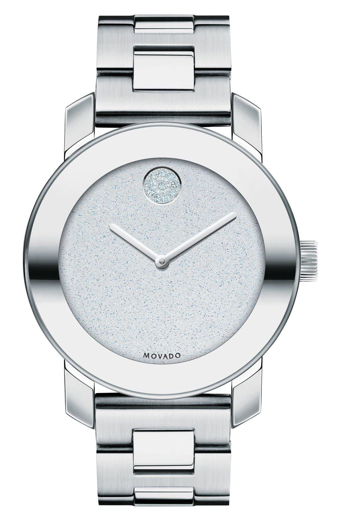 Bold Crystal Marker Bracelet Watch, 36mm,                         Main,                         color, Silver