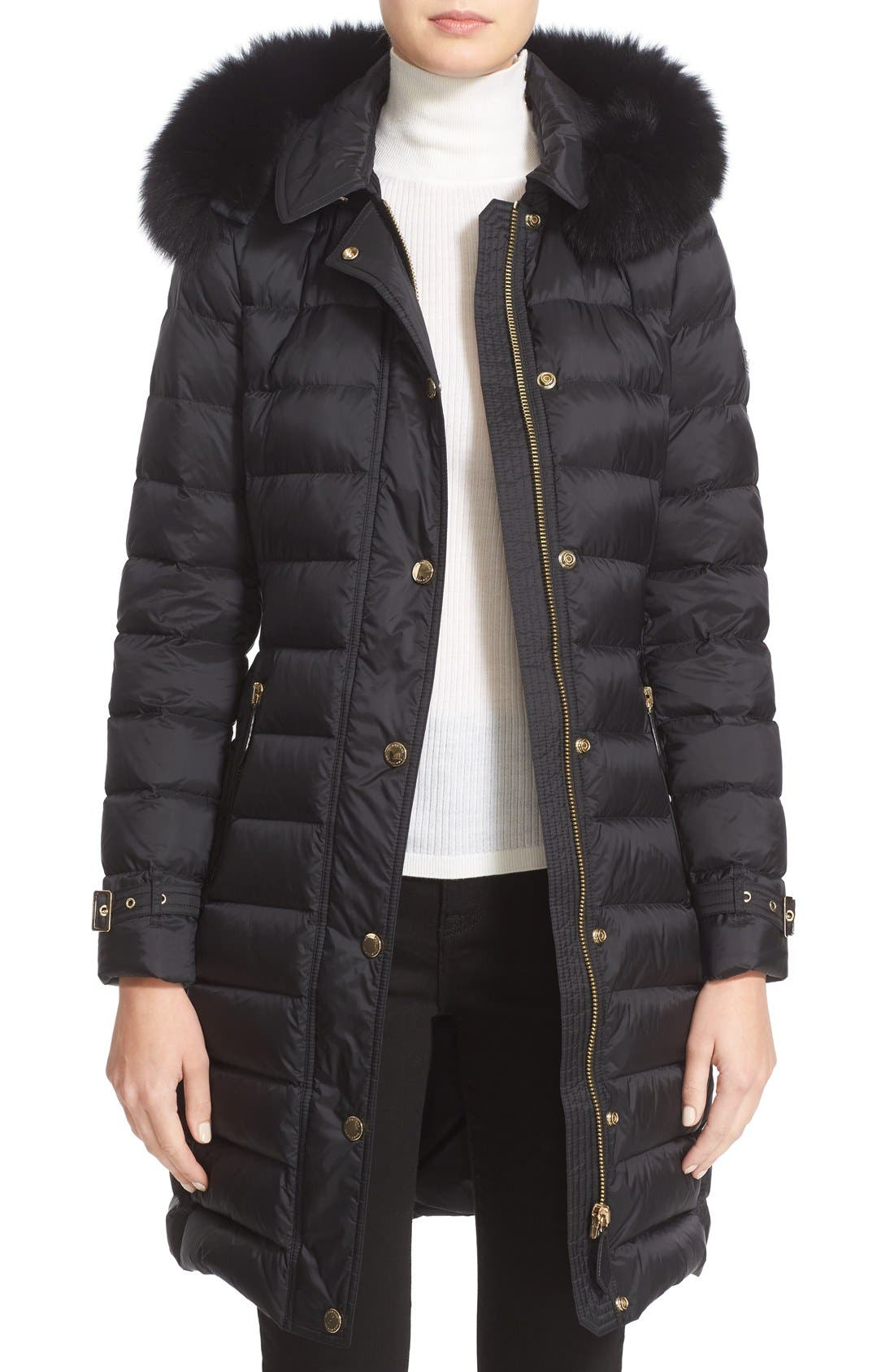Main Image - Burberry Ashmoore Down Puffer with Genuine Fox Fur Trim