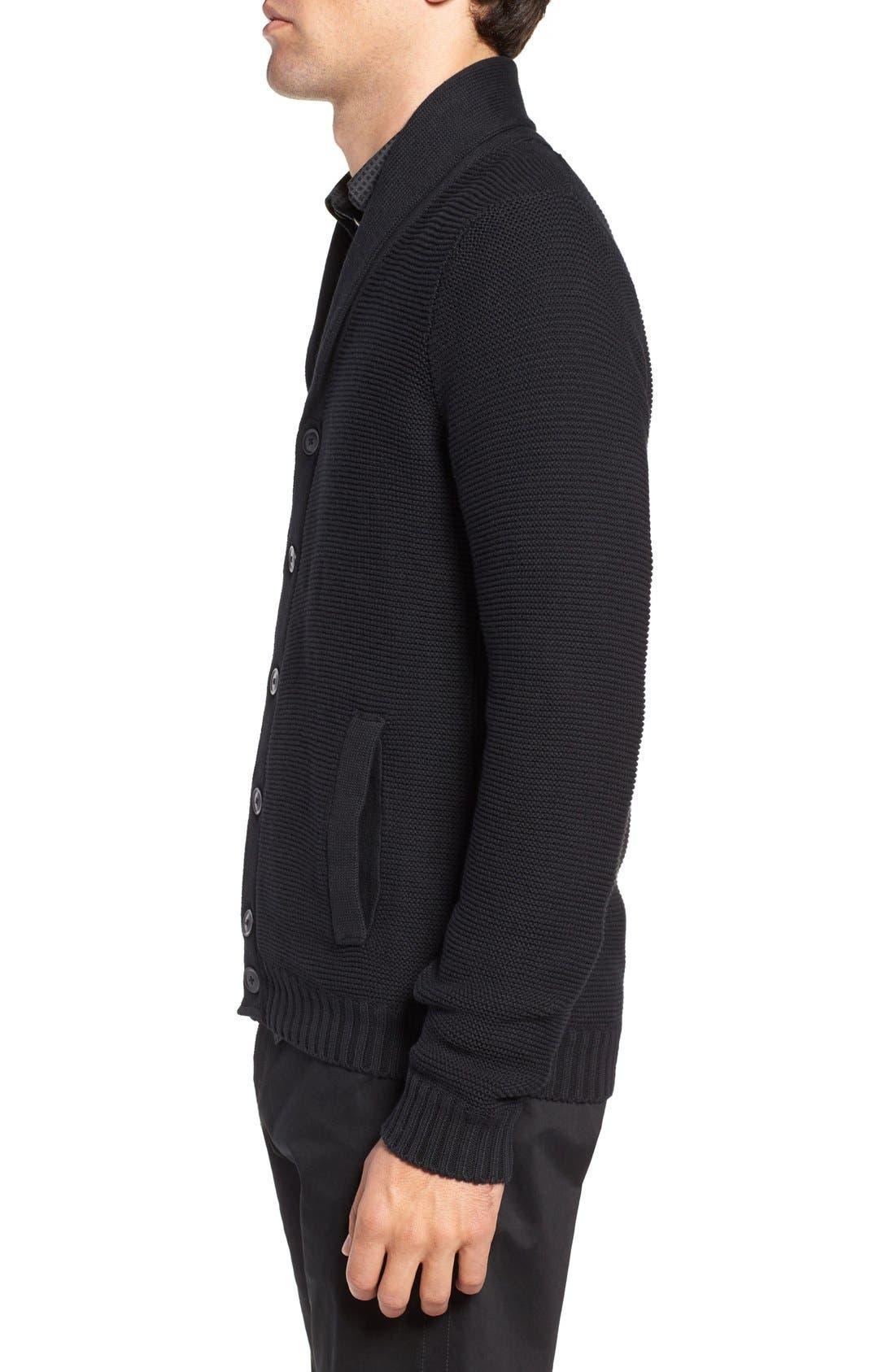 Cypress Cotton Shawl Collar Cardigan,                             Alternate thumbnail 3, color,                             Black