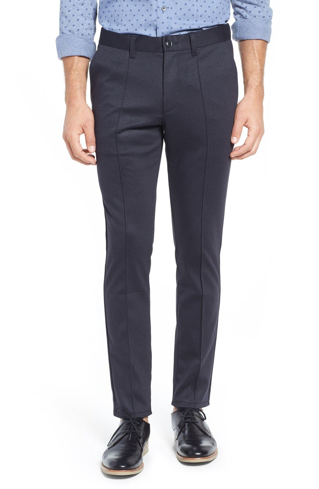 Prospect Herringbone Slim Fit Trousers,                         Main,                         color, Black