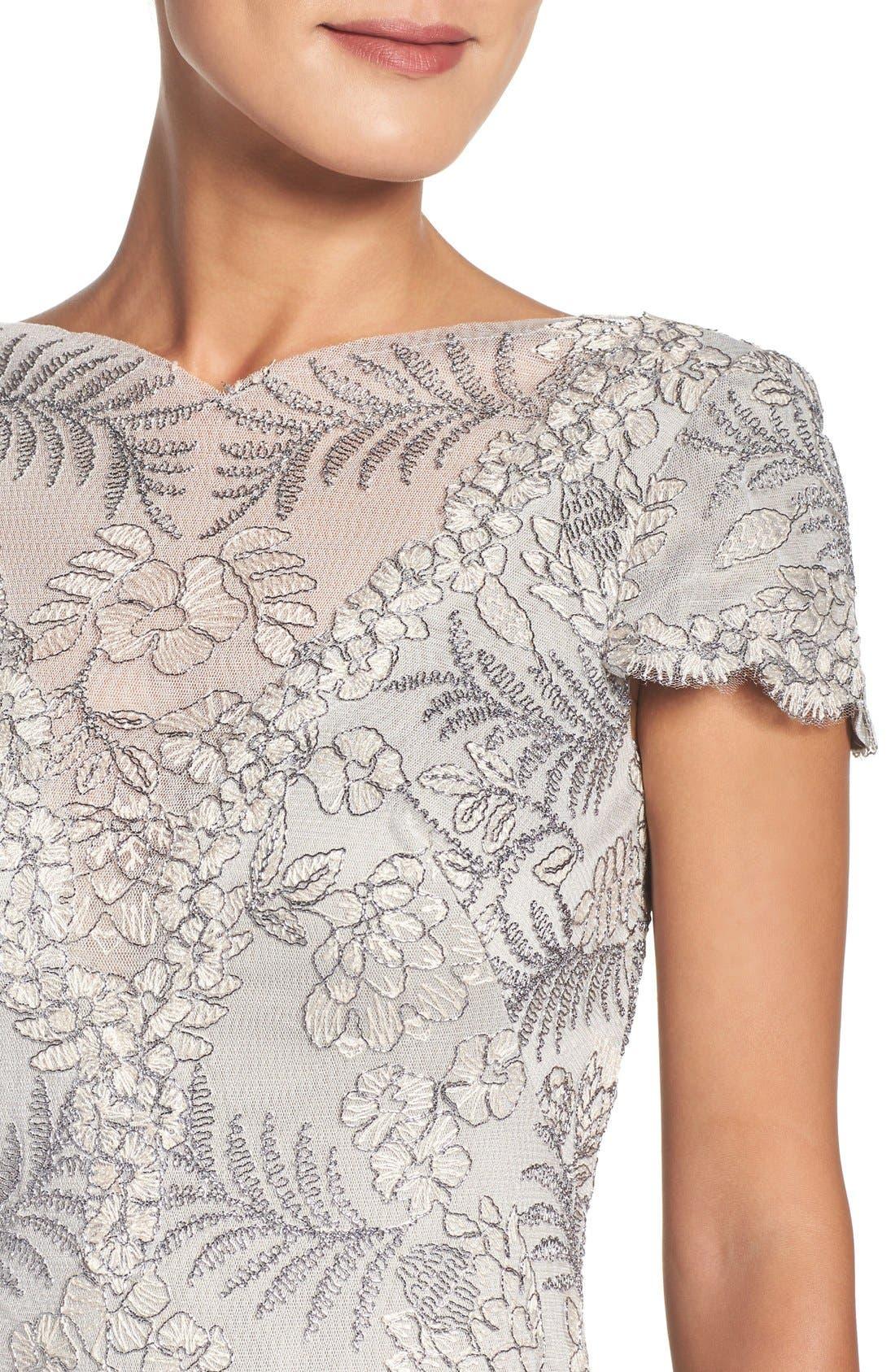 Lace Sheath Dress,                             Alternate thumbnail 5, color,                             Light Pearl