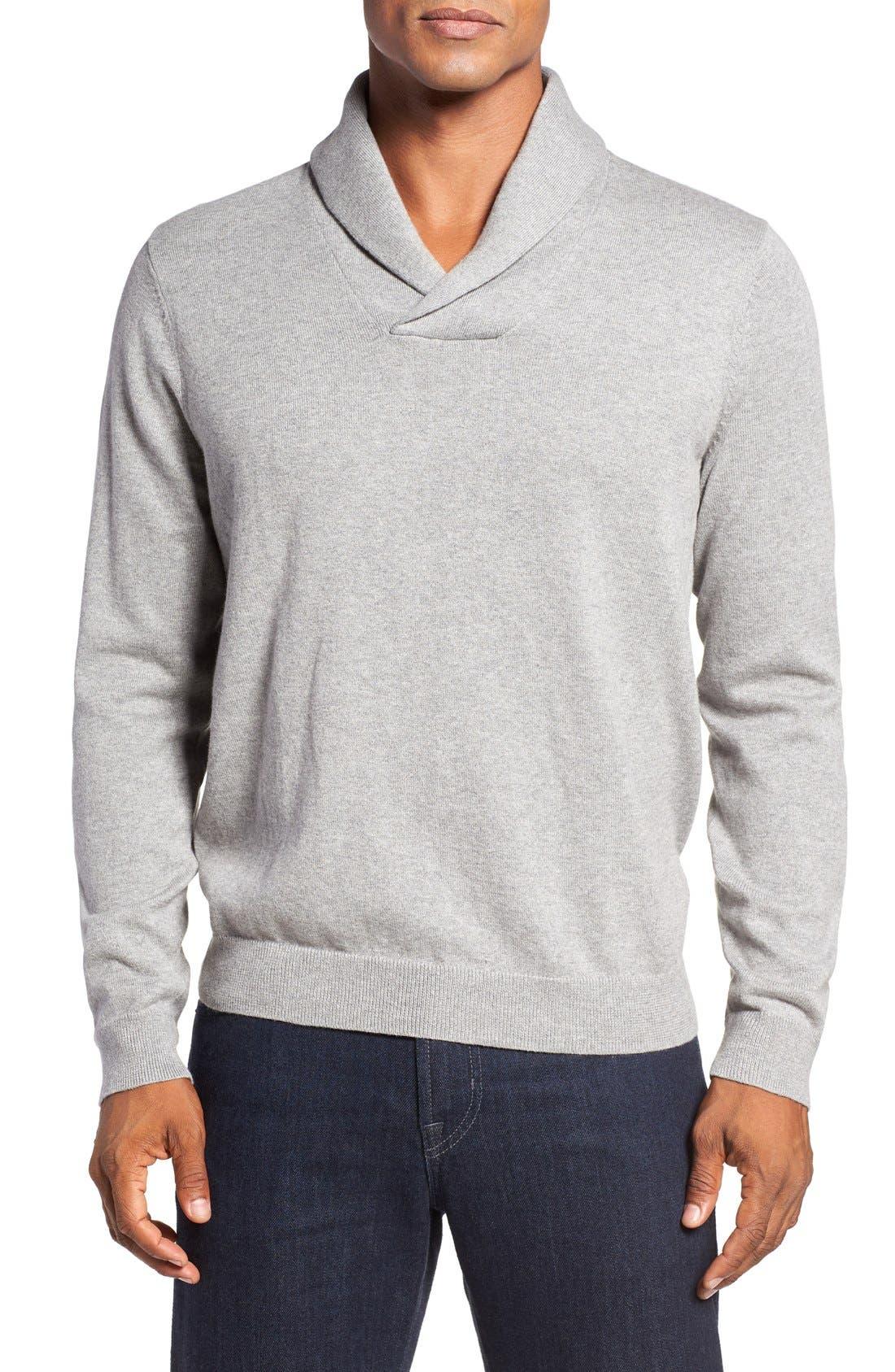 Main Image - Nordstrom Men's Shop Cotton & Cashmere Shawl Collar Sweater (Regular & Tall)