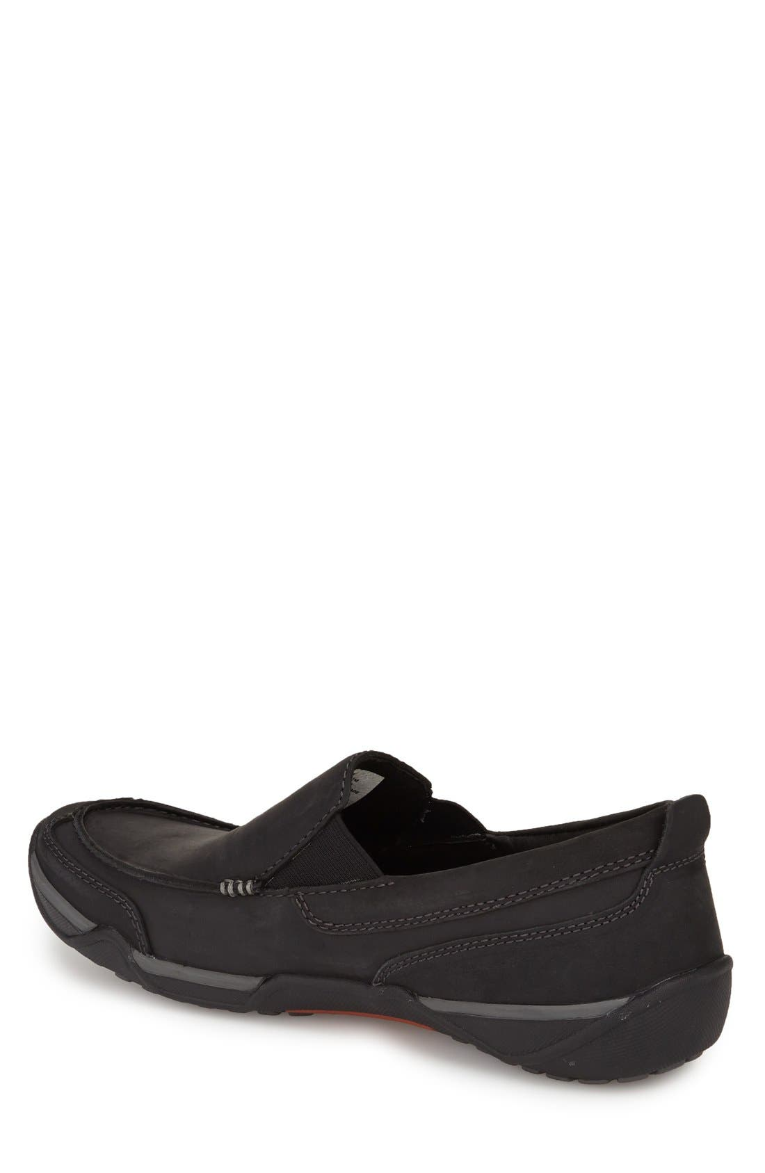 Markis Moc Toe Slip-On,                             Alternate thumbnail 2, color,                             Black Leather