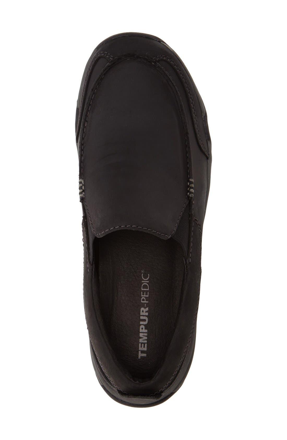 Markis Moc Toe Slip-On,                             Alternate thumbnail 3, color,                             Black Leather