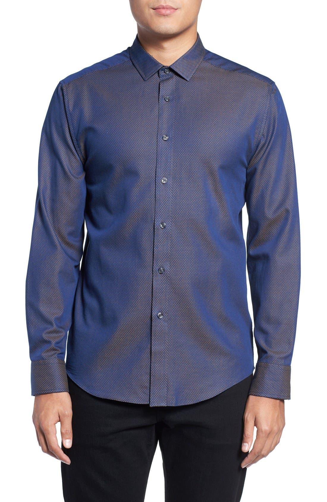 Slim Fit Print Sport Shirt,                         Main,                         color, Navy/ Gold Pindot Dobby