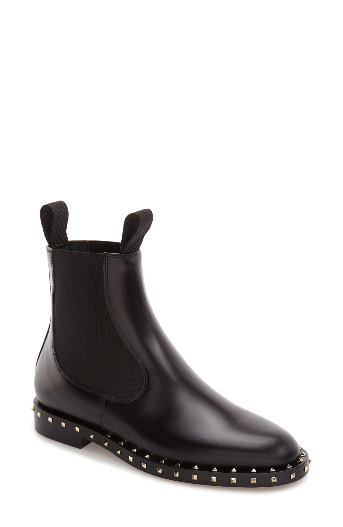 Rockstud Chelsea Boot,                         Main,                         color, Black Leather