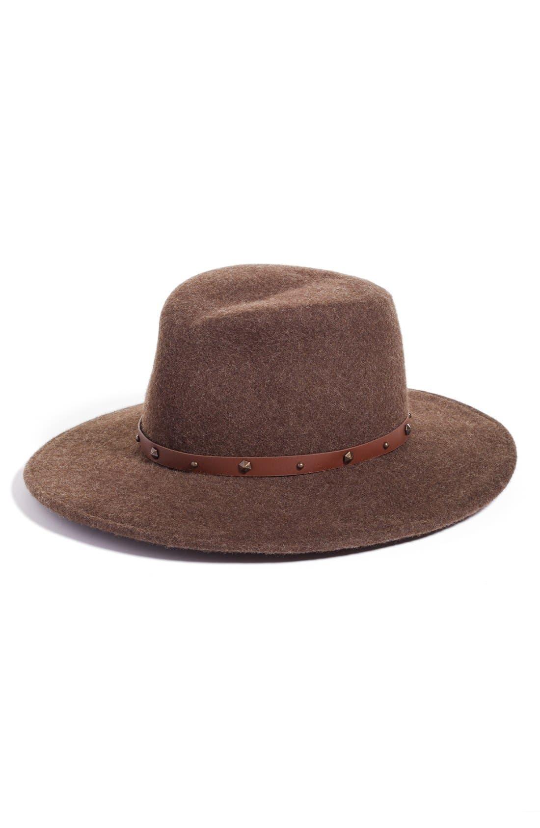 Karli Wool Felt Wide Brim Hat,                         Main,                         color, Brown Mix