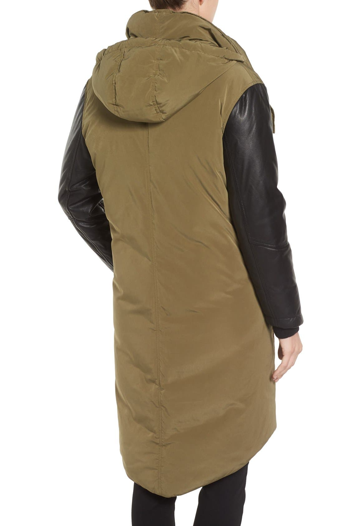 Alternate Image 2  - LAMARQUE Oversize Down Coat with Leather Trim
