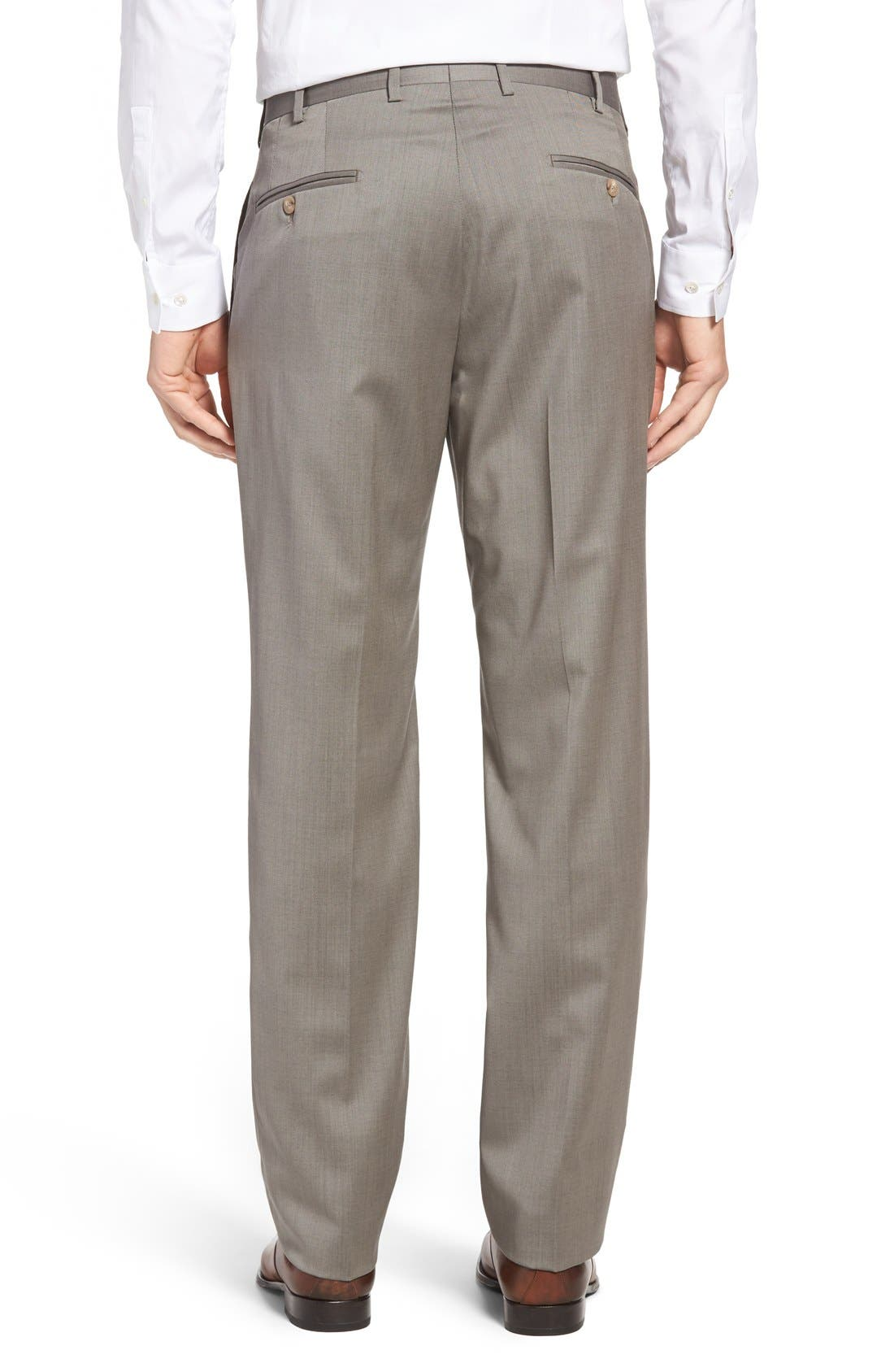 Alternate Image 2  - JB Britches Flat Front Worsted Wool Trousers