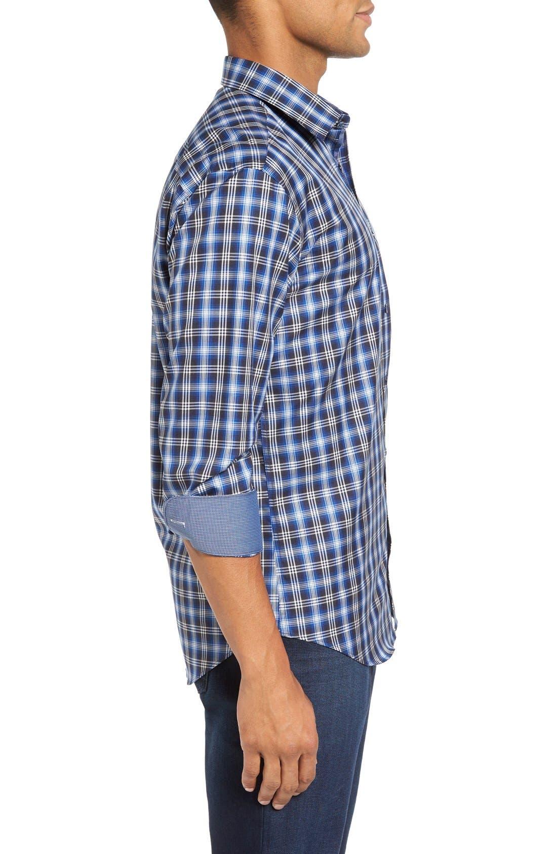 Trim Fit Ombré Plaid Sport Shirt,                             Alternate thumbnail 3, color,                             Navy