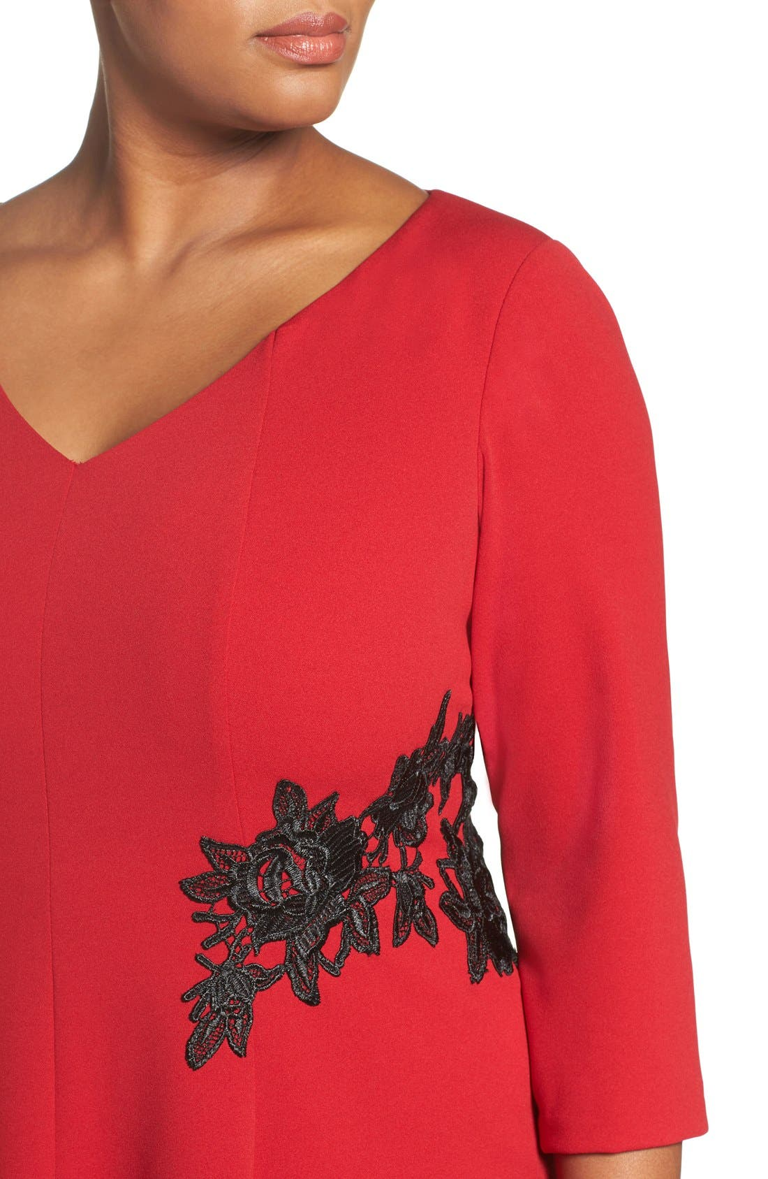 Lace Trim Fit & Flare Dress,                             Alternate thumbnail 5, color,                             Red