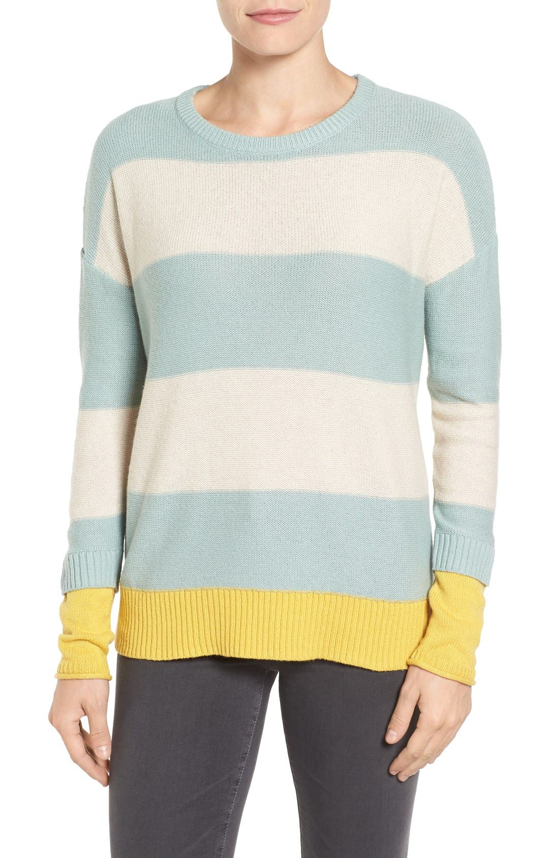 Contrast Cuff Crewneck Sweater,                         Main,                         color, Teal- Beige Oatmeal Stripe