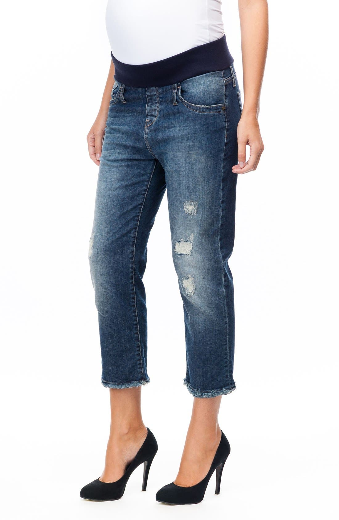 Distressed Crop Boyfriend Maternity Jeans,                             Alternate thumbnail 3, color,                             Old Darned