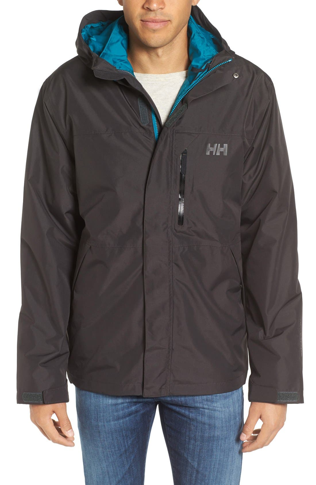 Squamish 3-in-1 Water Repellent Hooded Jacket,                             Main thumbnail 1, color,                             Ebony