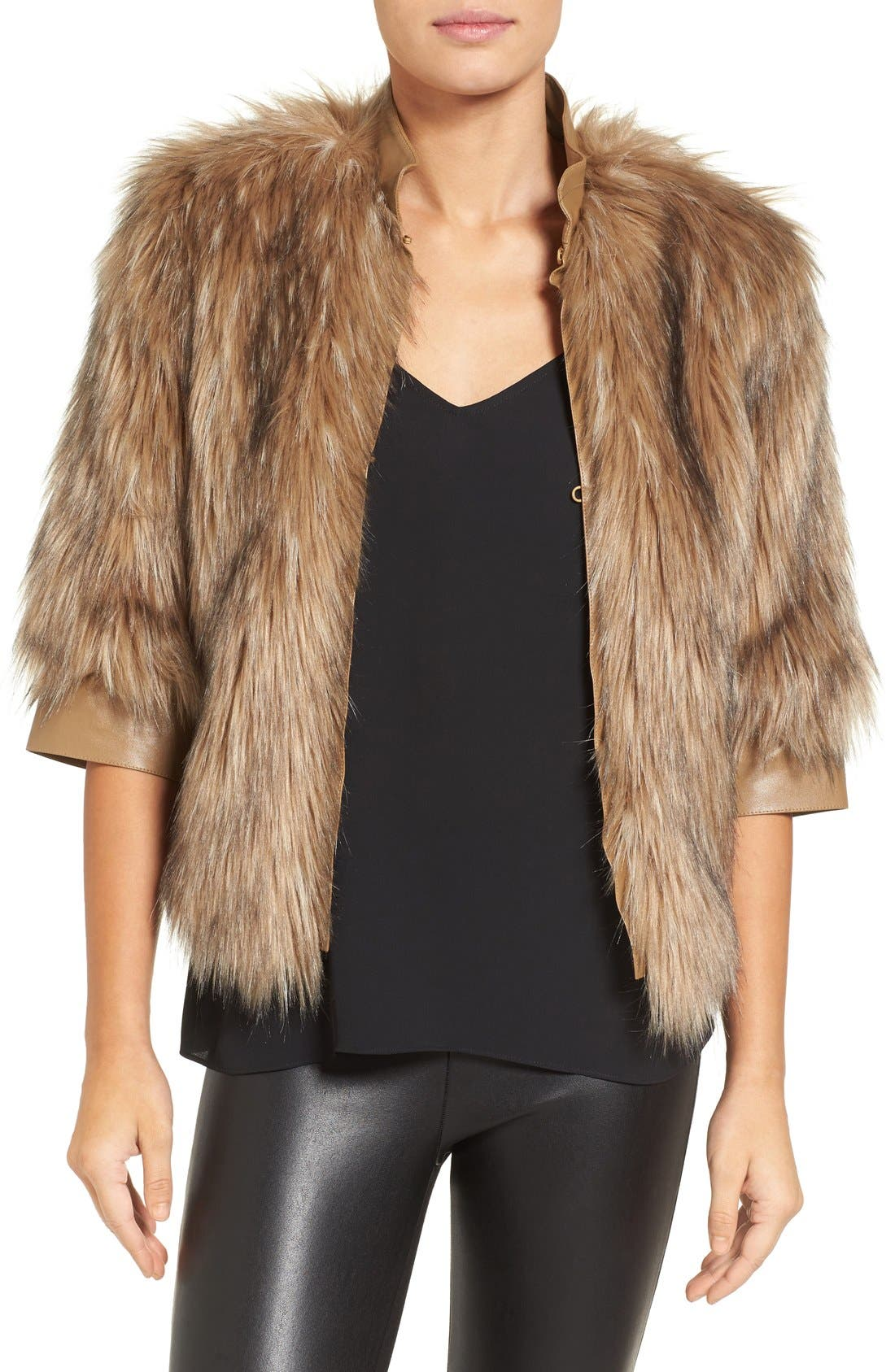 Alternate Image 1 Selected - Love Token Faux Fur Jacket