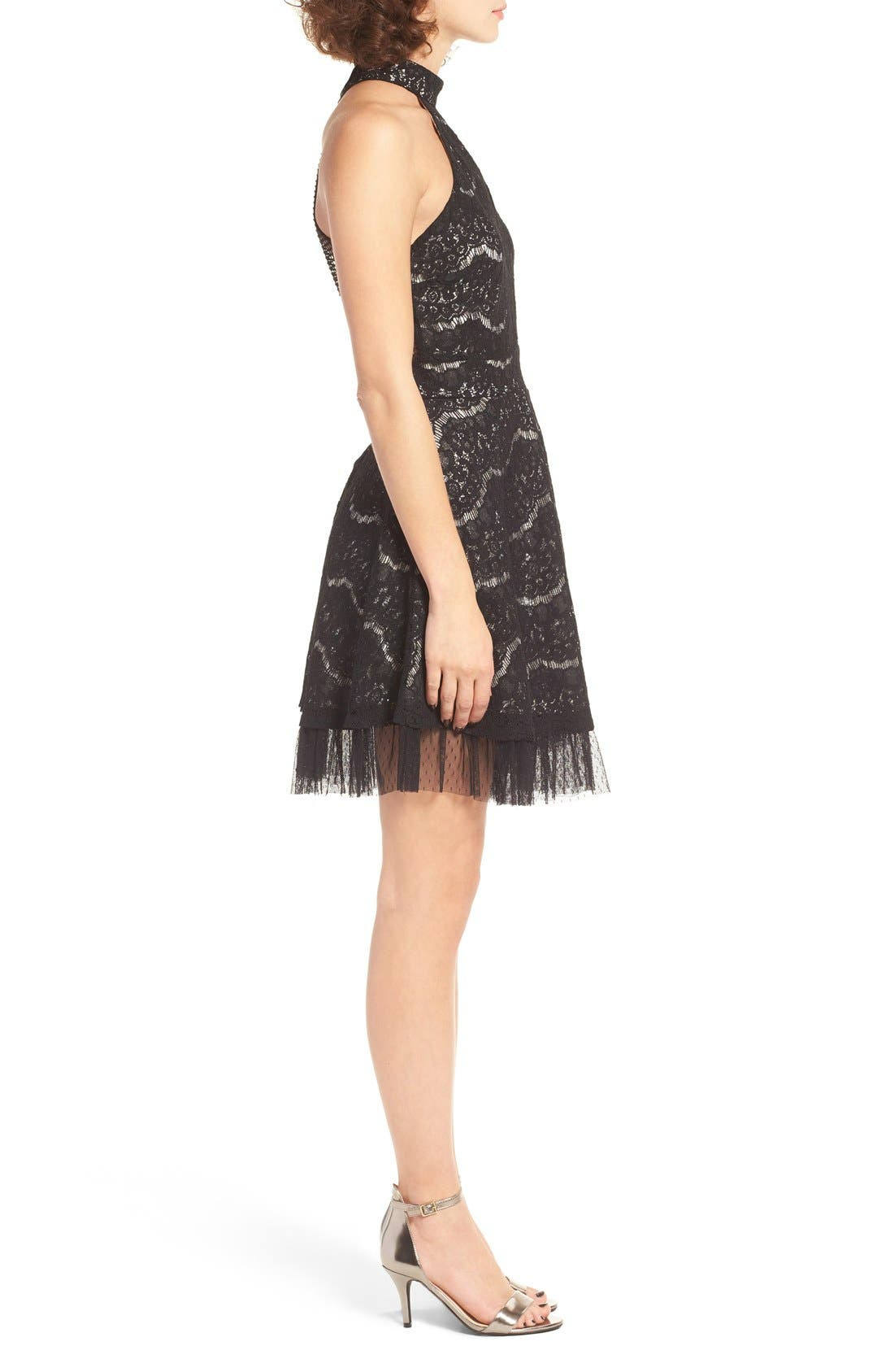Lace Fit & Flare Dress,                             Alternate thumbnail 3, color,                             Black