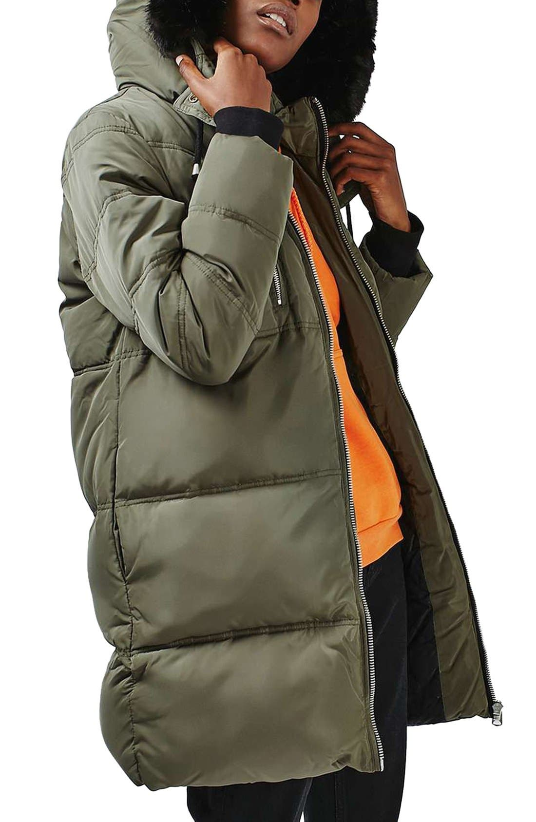 Jasper Faux Fur Trim Puffer Parka,                         Main,                         color, Olive