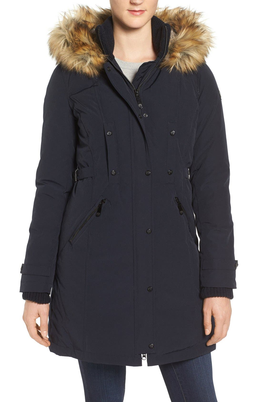 Vince Camuto Faux Fur Trim Down & Feather Fill Parka
