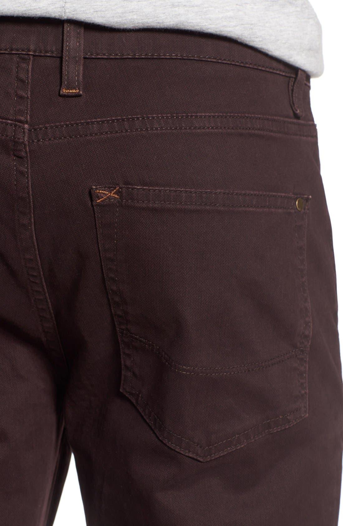Print Slim Fit Trouser Jeans,                             Alternate thumbnail 4, color,                             Dark Red