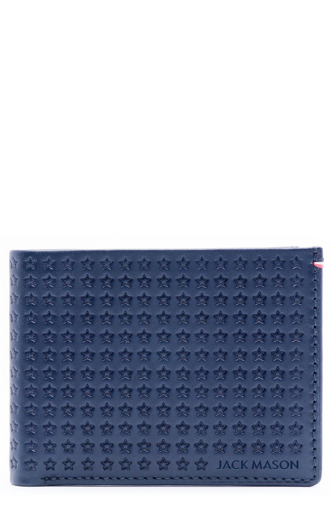 Star Leather Bifold Wallet,                             Main thumbnail 1, color,                             Navy