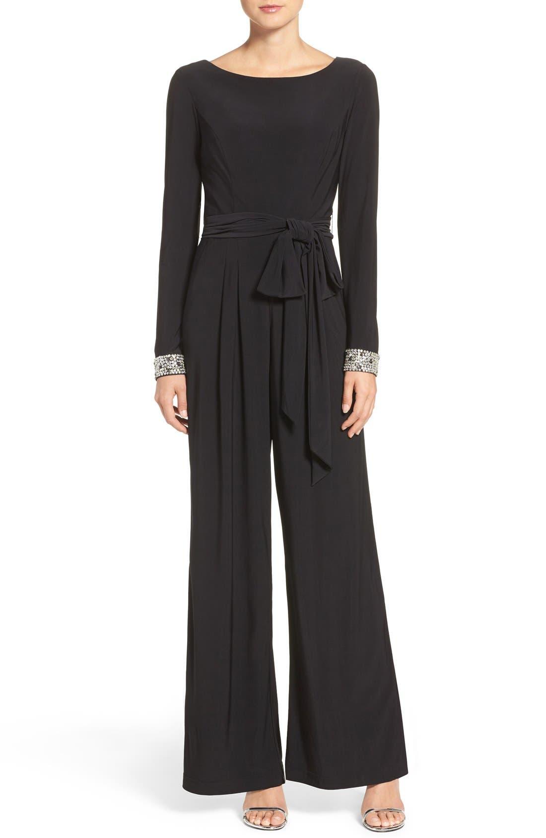 Embellished Wide Leg Jumpsuit,                         Main,                         color, Black