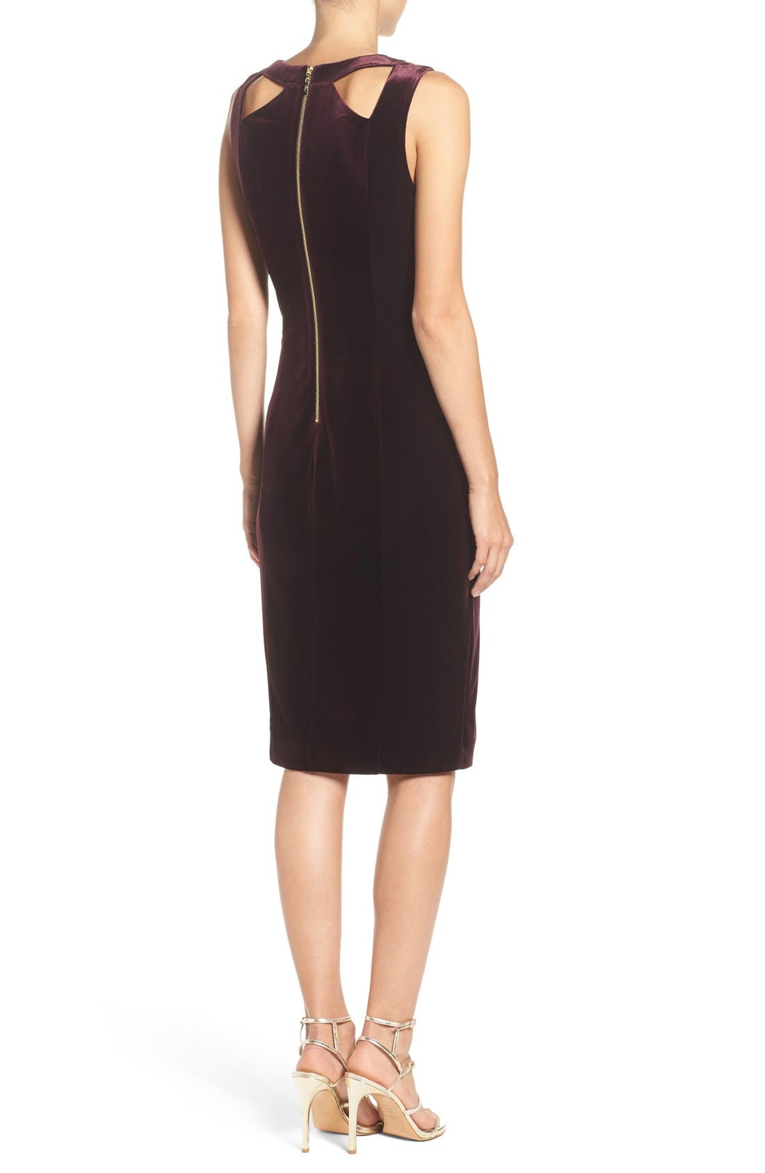Alternate Image 2  - Eliza J Velvet Cutout Sheath Dress