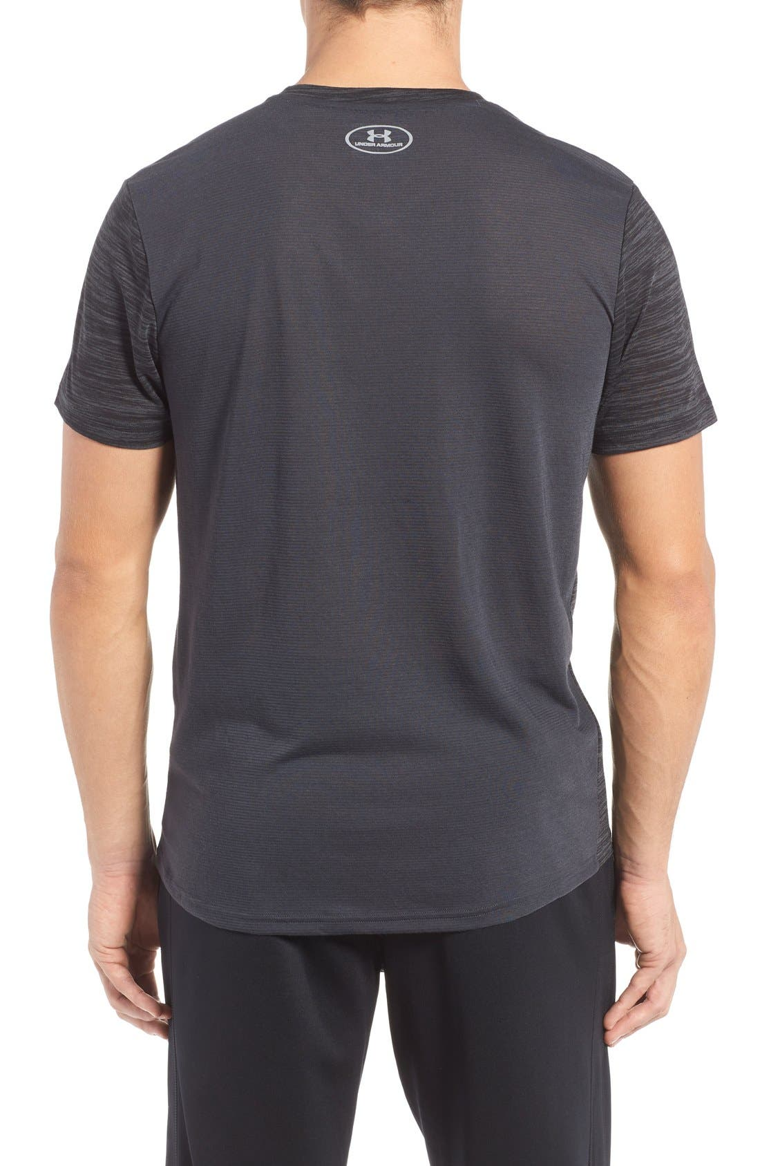'Streaker Run' Microthread V-Neck T-Shirt,                             Alternate thumbnail 2, color,                             Anthracite/ Reflective Silver