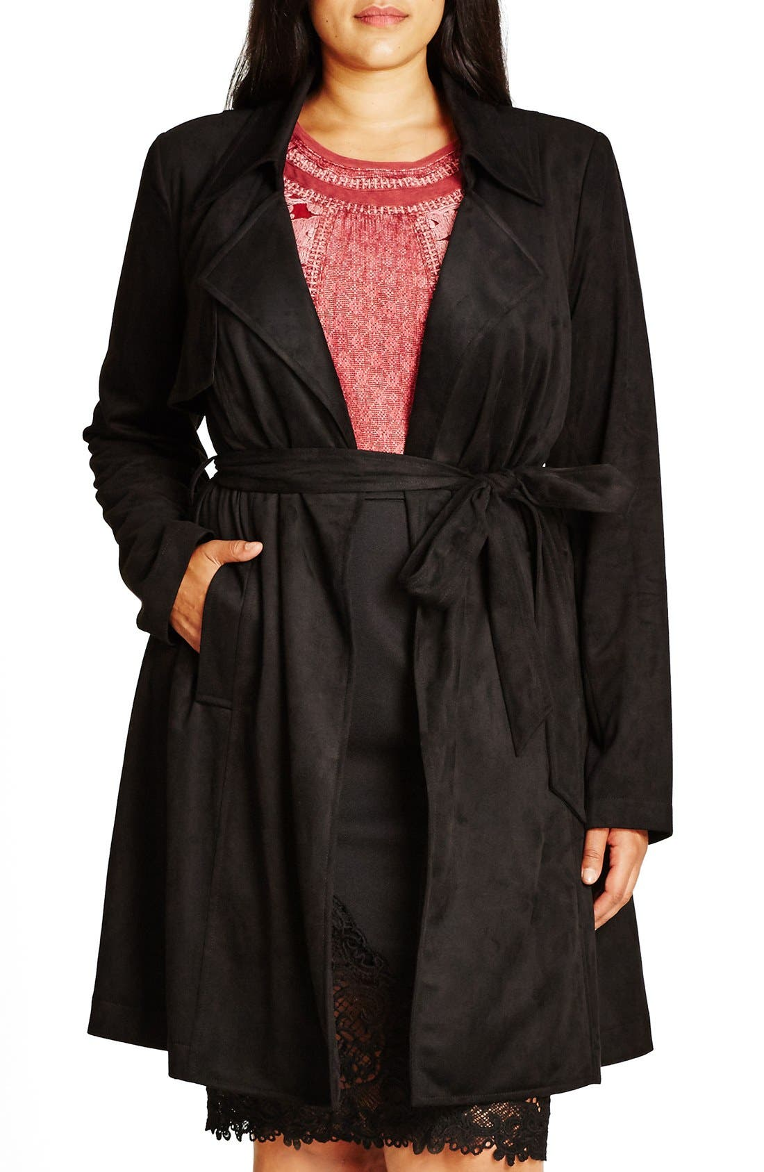 Faux Suede Trench Coat,                             Main thumbnail 1, color,                             Black