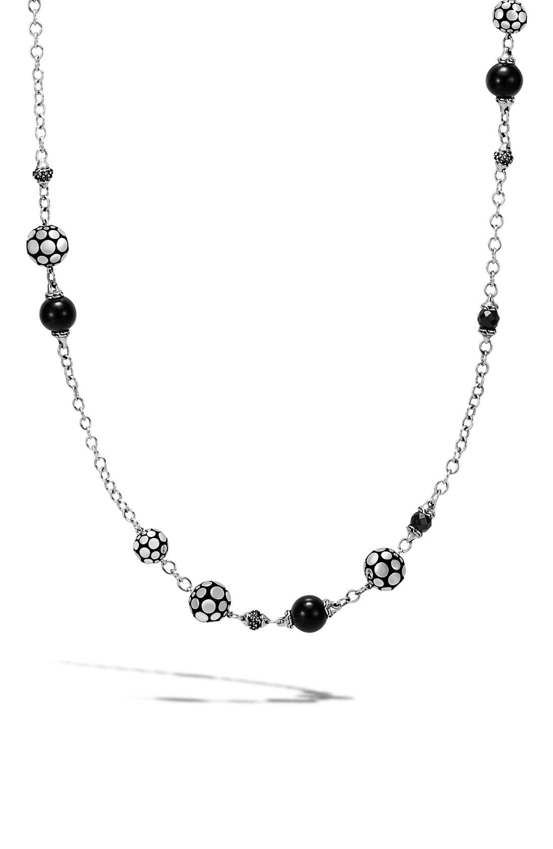 Dot Station Necklace,                         Main,                         color, Silver/ Golden Obsidian