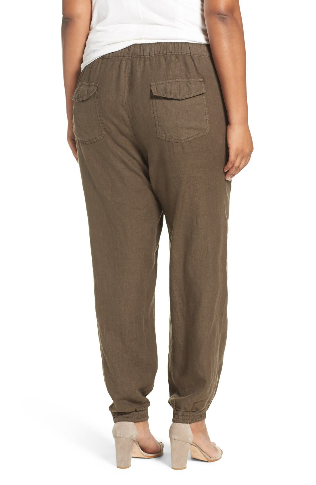 Alternate Image 2  - Caslon® Linen Jogger Pants (Plus Size)