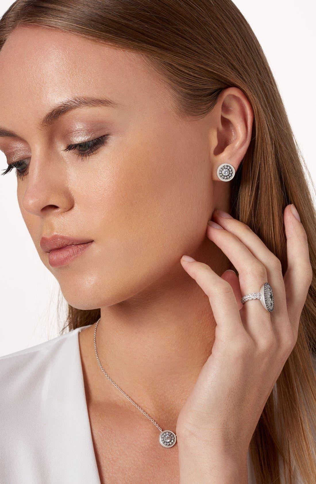 'Nautical Button' Stud Earrings,                             Alternate thumbnail 2, color,                             Silver/ Gunmetal/ Clear