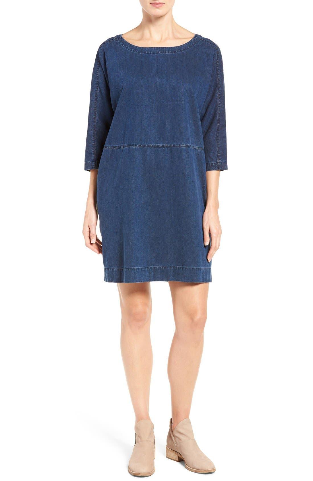 Alternate Image 1 Selected - Eileen Fisher Denim Shift Dress