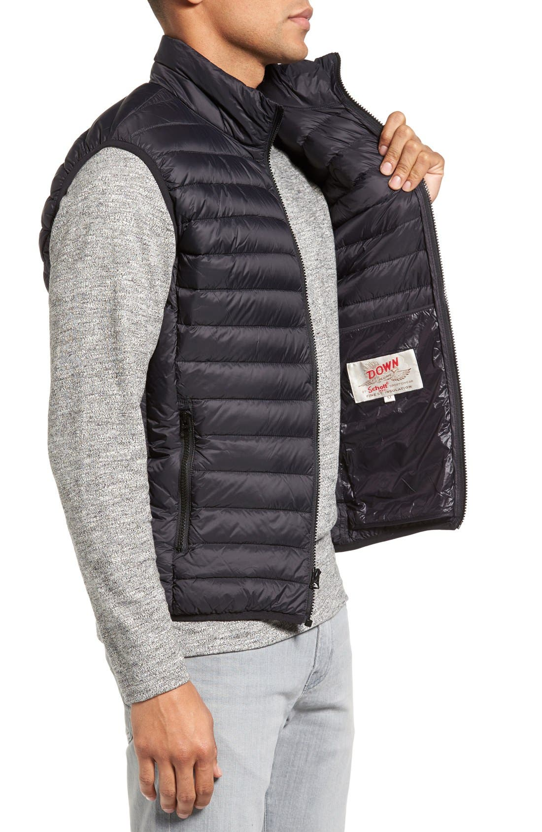 Lightweight Quilted Down Vest,                             Alternate thumbnail 3, color,                             Black