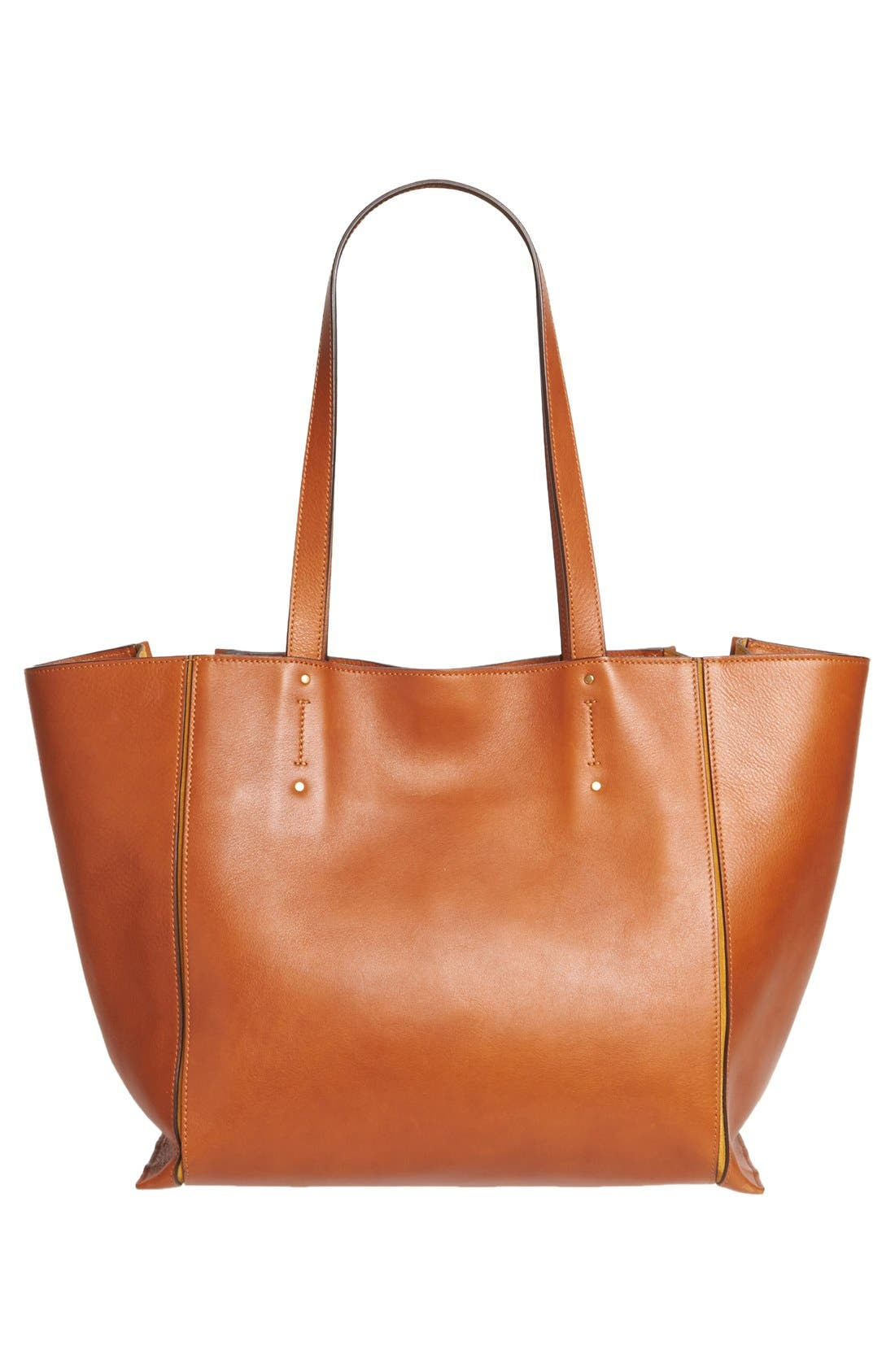 Medium Milo Calfskin Leather Tote,                             Alternate thumbnail 3, color,                             Caramel