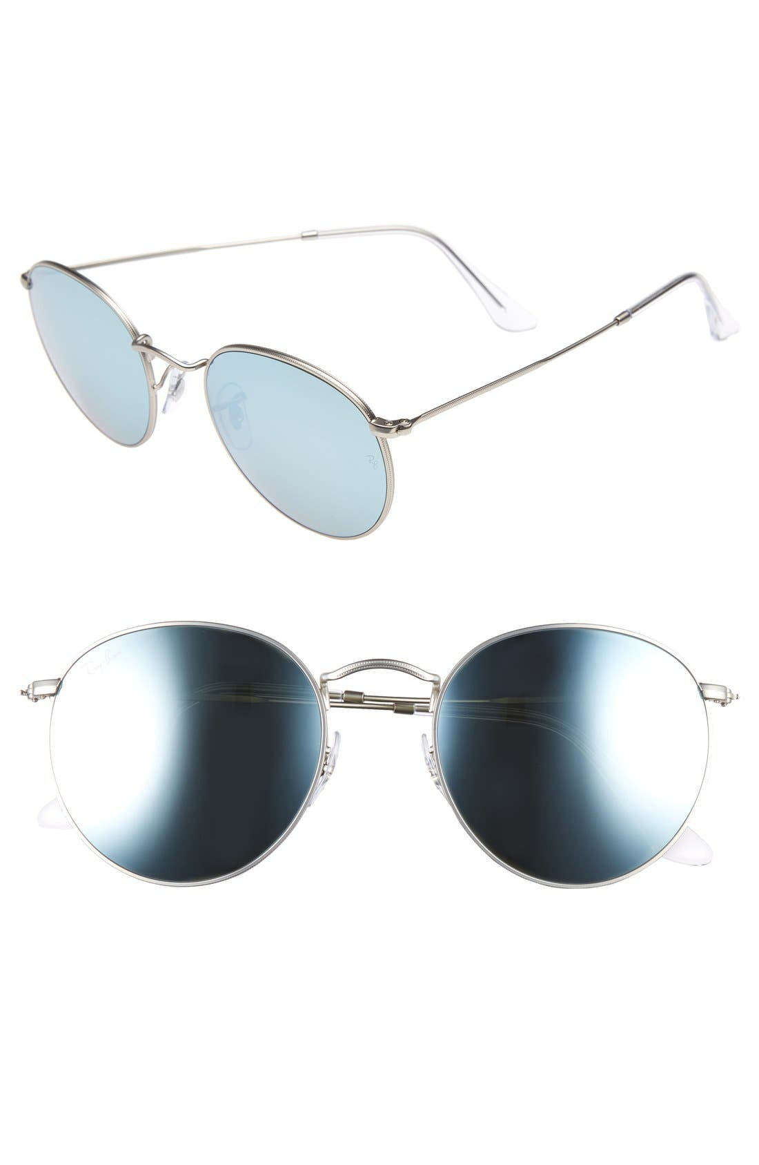 Icons 53mm Retro Sunglasses,                             Main thumbnail 1, color,                             Silver Mirror
