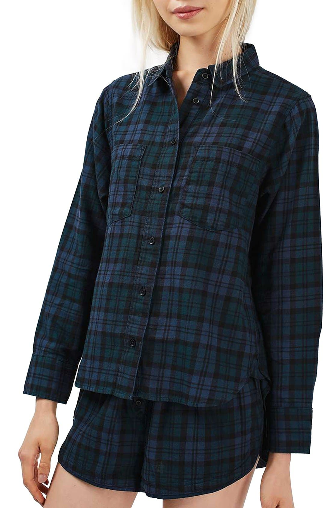 Alternate Image 1 Selected - Topshop Plaid Flannel Pajama Shirt