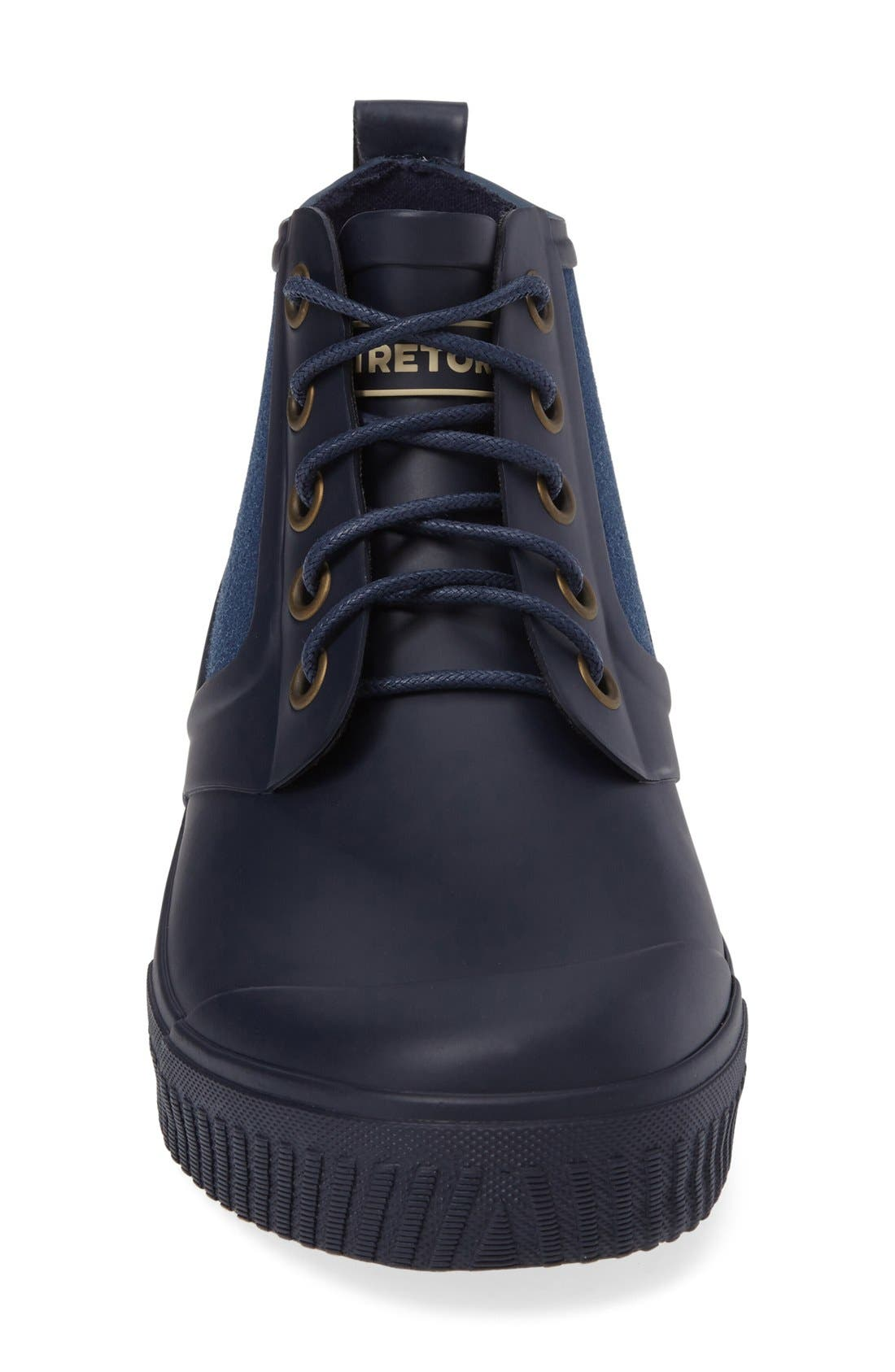 Mid Top Lace-Up Rain Boot,                             Alternate thumbnail 3, color,                             Navy