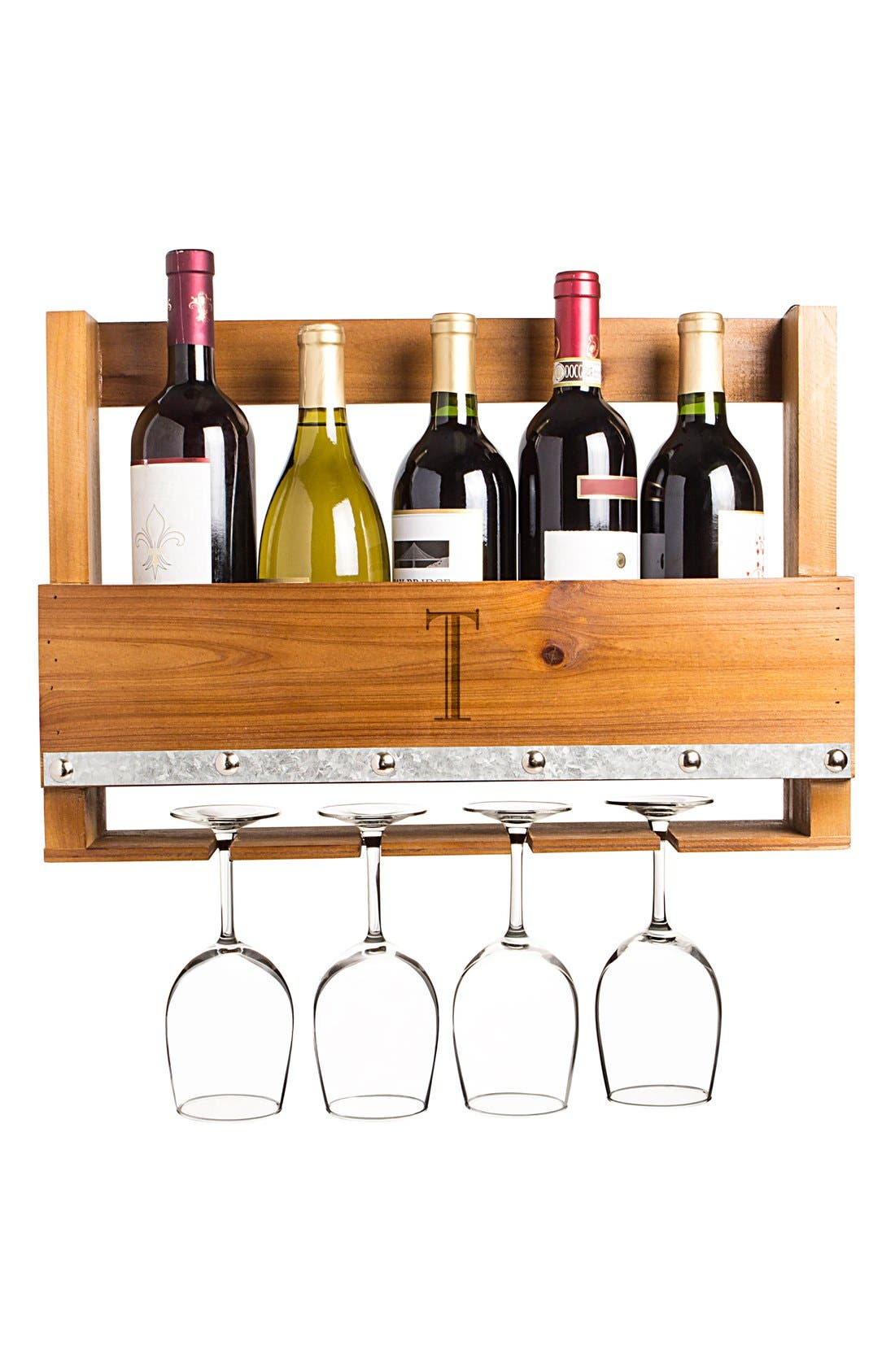 Main Image - Cathy's Concepts Personalized Rustic Wall Wine Rack & Glass Holder