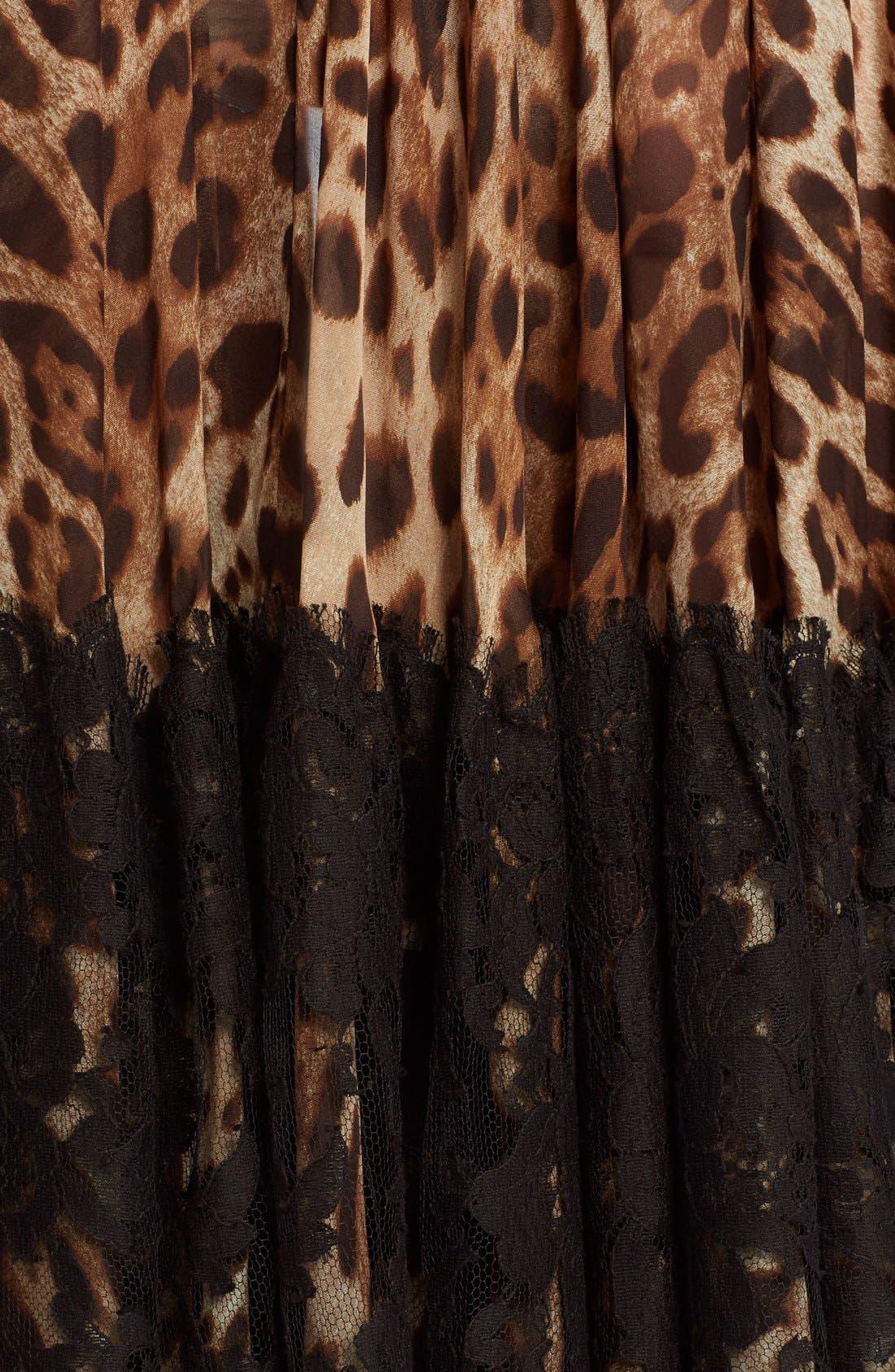Lace Overlay Leopard Print Chiffon Full Skirt,                             Alternate thumbnail 3, color,                             Leopard