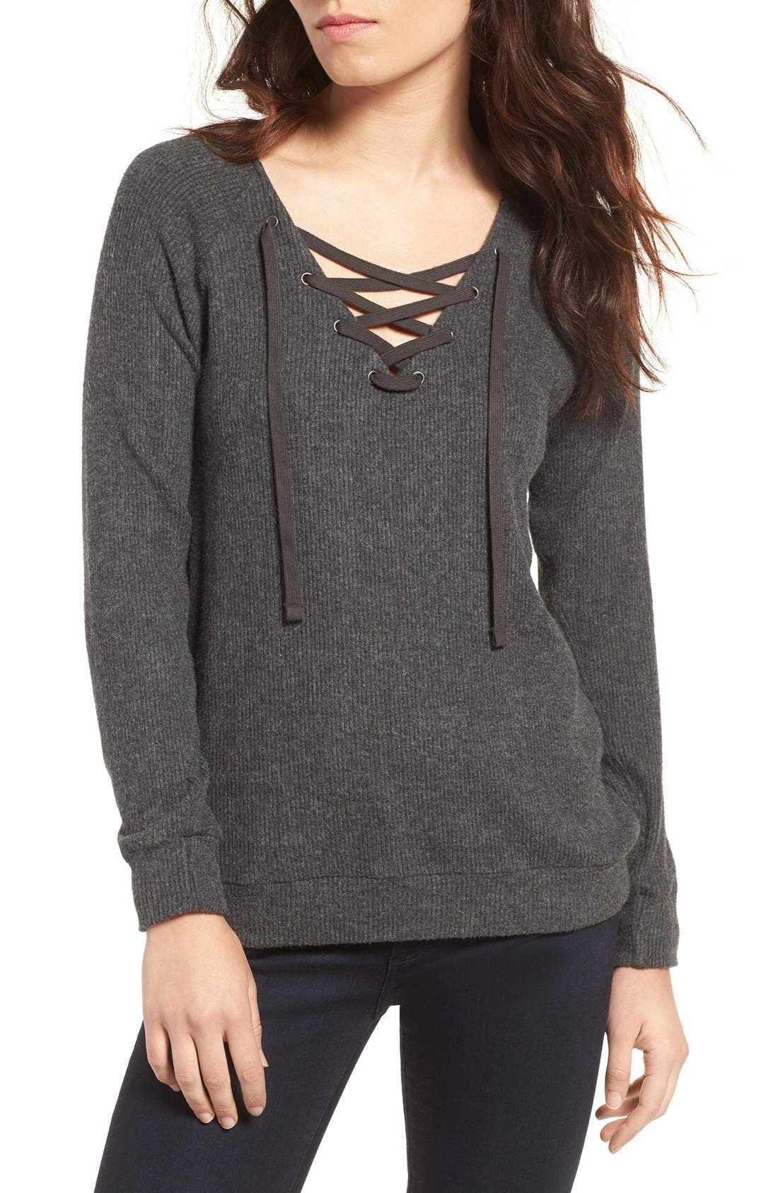 Alternate Image 1 Selected - Velvet by Graham & Spencer Cozy Lace-Up Top
