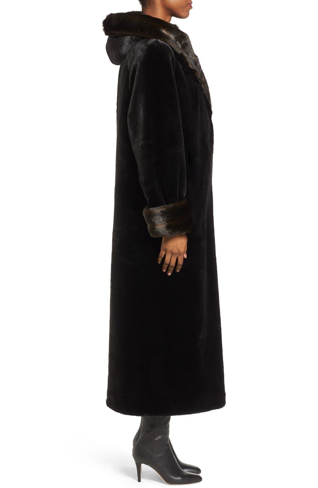 Alternate Image 3  - Gallery Hooded Full-Length Faux Fur Coat