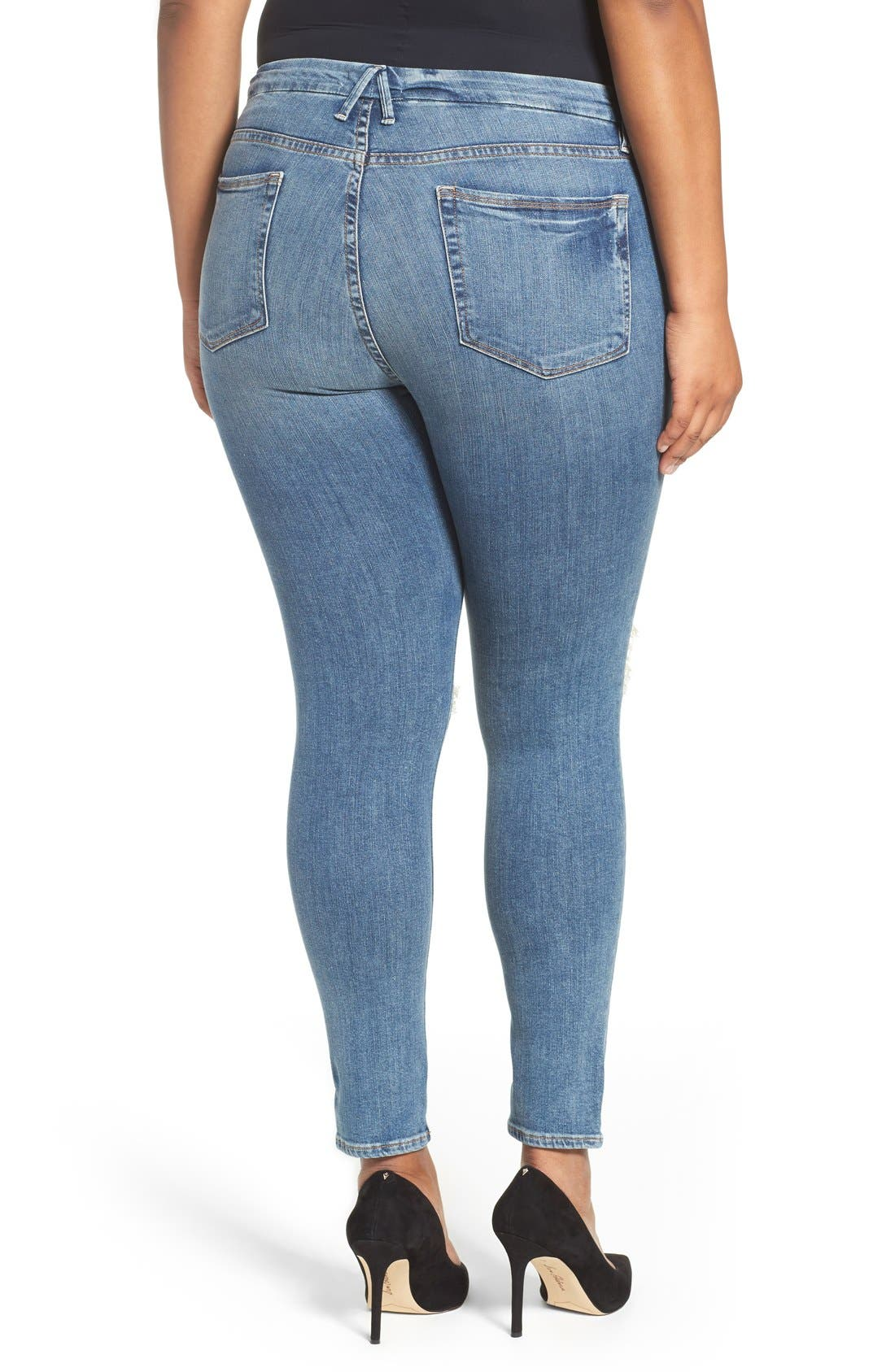 Alternate Image 6  - Good American Good Legs High Rise Ripped Skinny Jeans (Blue 006)