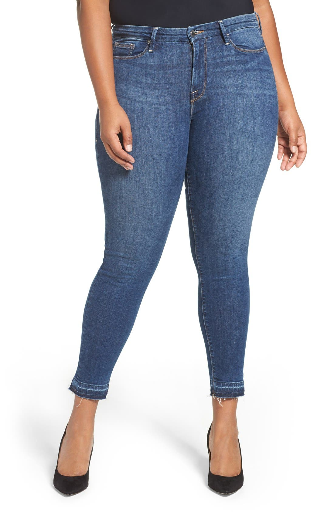 Good Legs High Rise Crop Released Hem Skinny Jeans,                             Alternate thumbnail 11, color,                             Blue 009