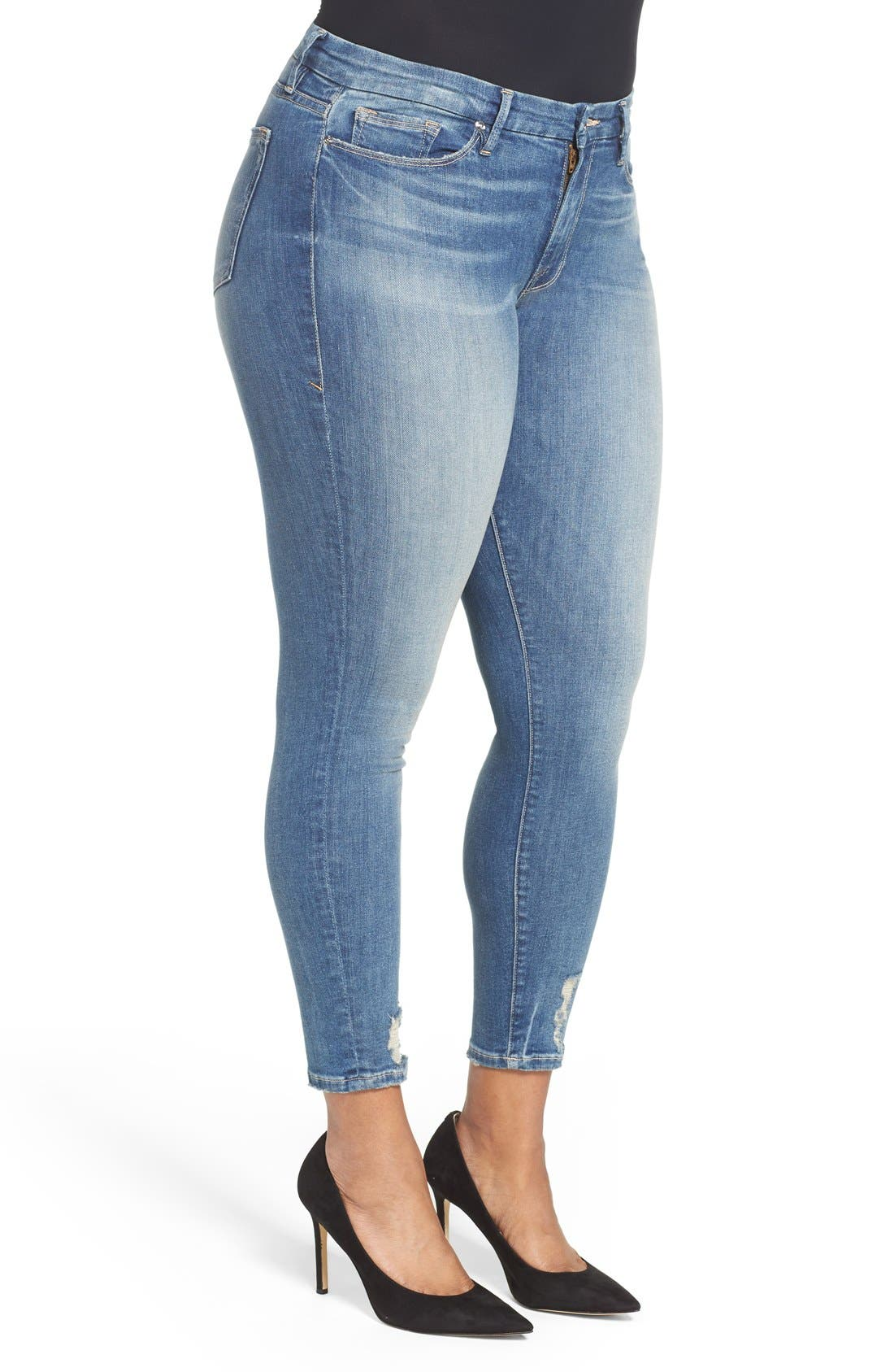 Good Legs High Rise Crop Skinny Jeans,                             Alternate thumbnail 8, color,                             Blue 010