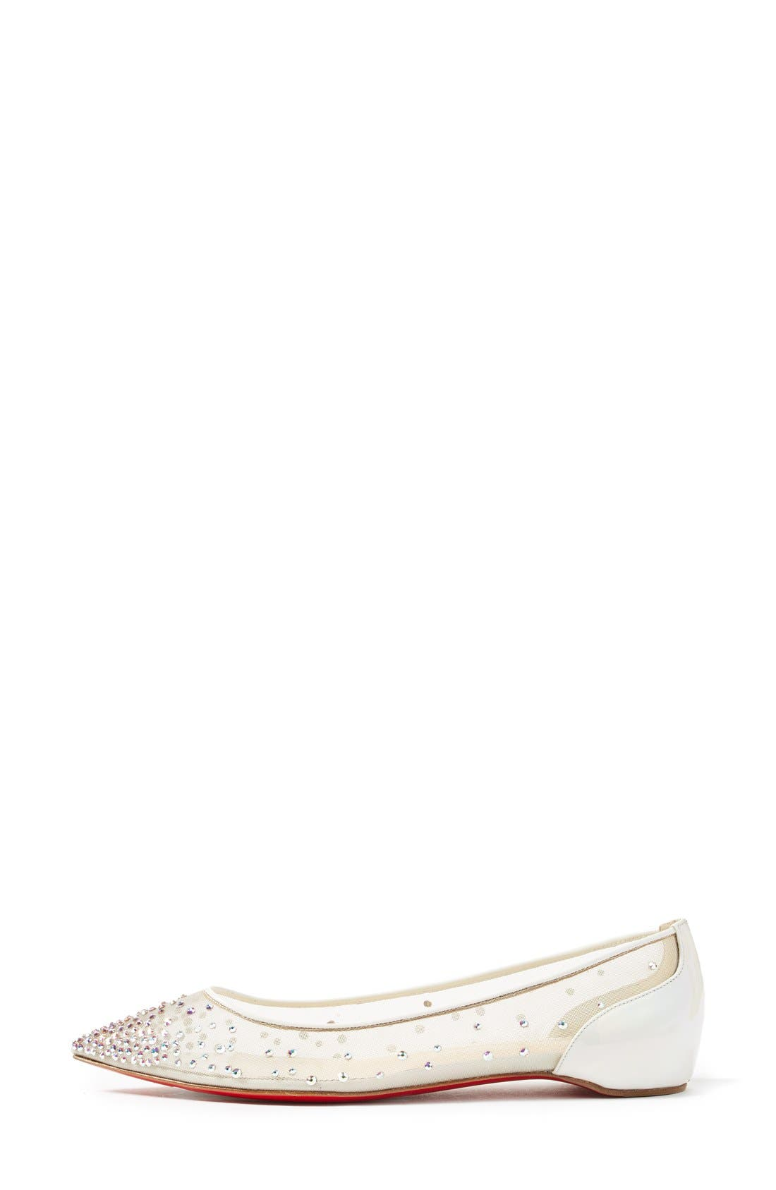Follies Strass Pointy Toe Flat,                             Alternate thumbnail 4, color,                             White