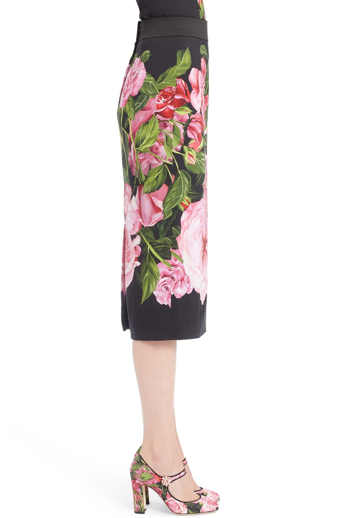 Alternate Image 4  - Dolce&Gabbana Rose Print Cady Pencil Skirt