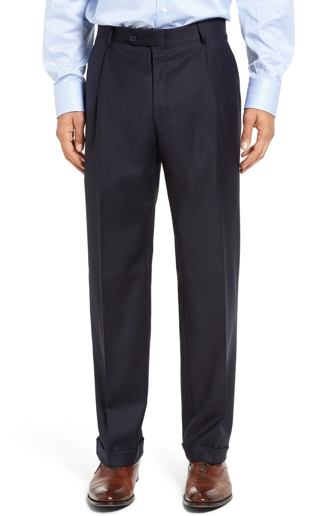 Chicago Classic Fit Solid Wool Suit,                             Alternate thumbnail 5, color,                             Navy