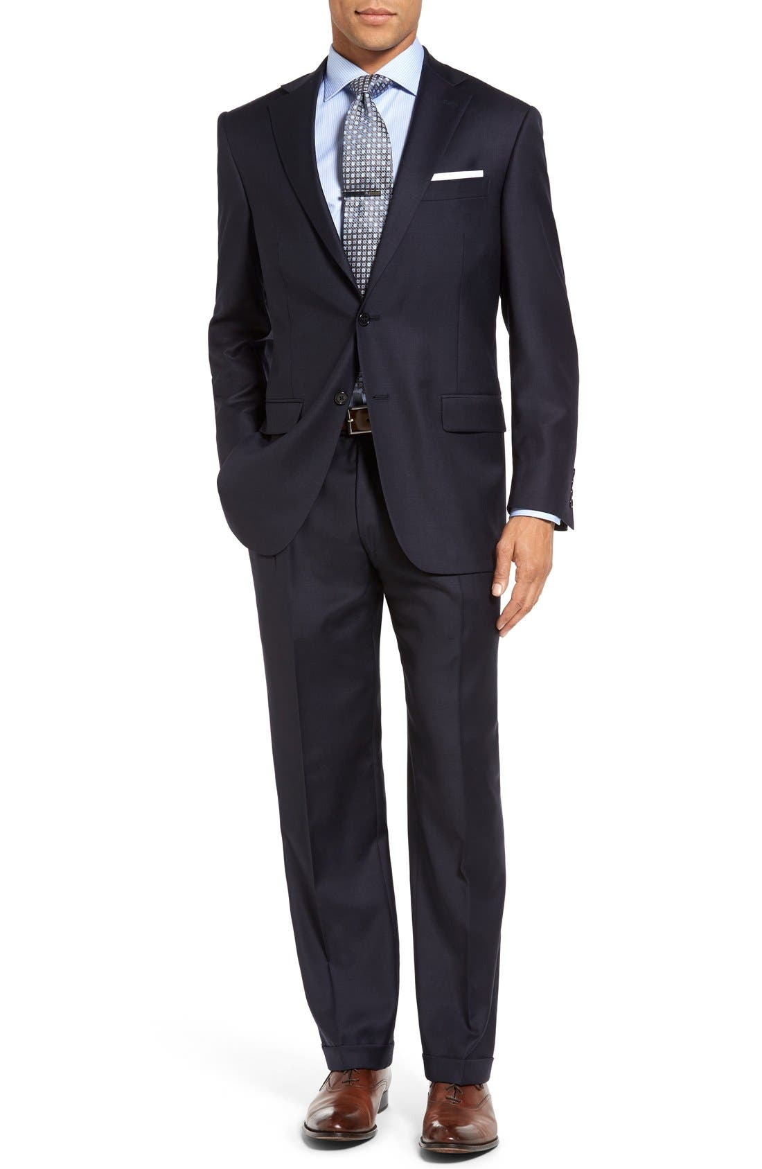 Chicago Classic Fit Solid Wool Suit,                             Main thumbnail 1, color,                             Navy