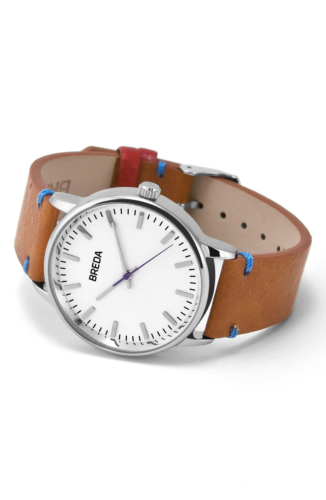 Alternate Image 2  - BREDA Zapf Leather Strap Watch, 39mm