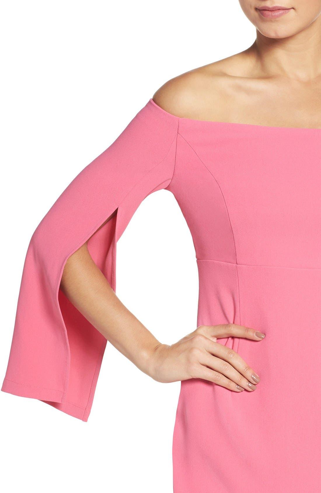 Ava Off the Shoulder Dress,                             Alternate thumbnail 5, color,                             Tulip Pink